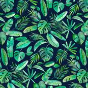 Emerald Tropical Leaf Scatter on Navy Blue - large