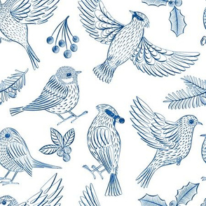 Winter Birds and Foliage (Blue)