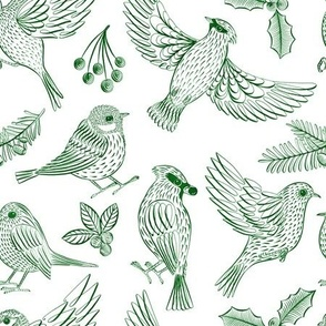 Winter Birds and Foliage (Green)