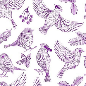 Winter Birds and Foliage (Purple)