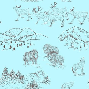 Arctic Wildlife Toile Pattern (Blue and Brown)