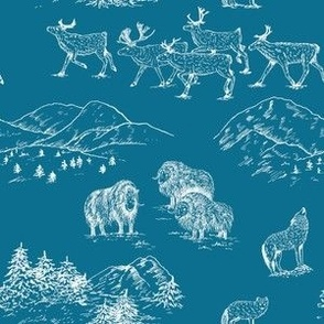 Arctic Wildlife Toile Pattern (Blue and White)