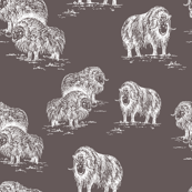 Arctic Wildlife Toile Pattern (Taupe and White)