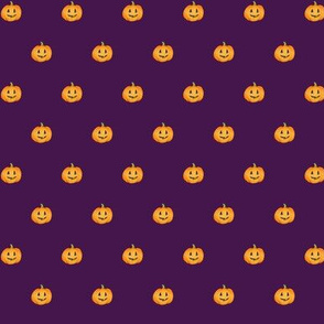 Jack-o'-lantern Rows Halloween Pumpkins on blackberry purple - tiny scale
