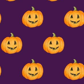 Jack-o'-lantern Rows Halloween Pumpkins on blackberry purple - medium scale
