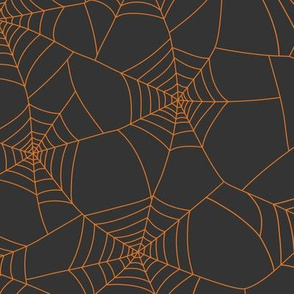 Spiderwebs pumpkin orange on black night - large scale