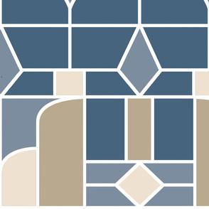 Art Deco Slate Beige Jumbo Bedding