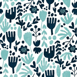 flower pop - scandi style bright bold flowers, pop floral, bright floral, happy florals  - blue