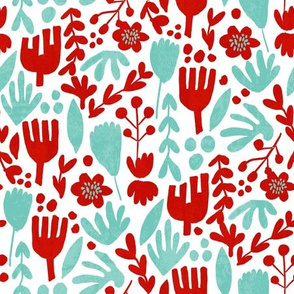 flower pop - scandi style bright bold flowers, pop floral, bright floral, happy florals  - red and turquoise