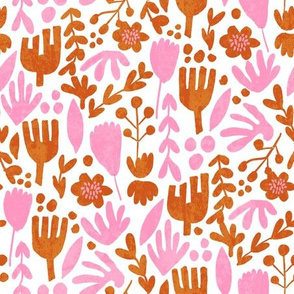 flower pop - scandi style bright bold flowers, pop floral, bright floral, happy florals  - pink and ochre