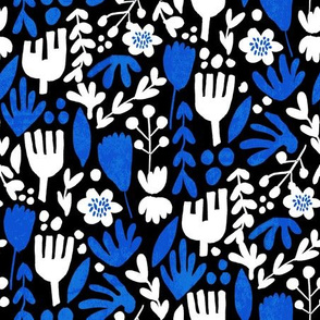 flower pop - scandi style bright bold flowers, pop floral, bright floral, happy florals  - blue and white