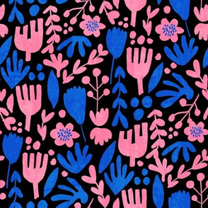 flower pop - scandi style bright bold flowers, pop floral, bright floral, happy florals  - pink and blue