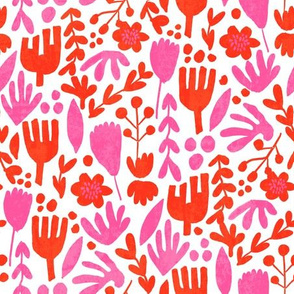 flower pop - scandi style bright bold flowers, pop floral, bright floral, happy florals  - red pink
