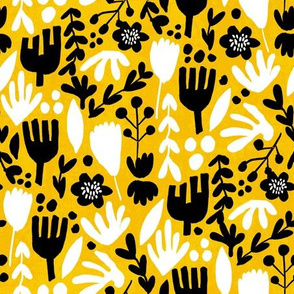 flower pop - scandi style bright bold flowers, pop floral, bright floral, happy florals  - yellow