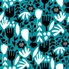 flower pop - scandi style bright bold flowers, pop floral, bright floral, happy florals  - turquoise