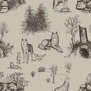 Eurasian Wolf Toile Pattern (Beige and Brown)