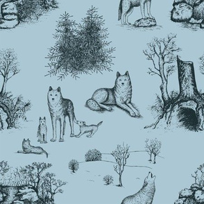 Eurasian Wolf Toile Pattern (Blue and Grey)
