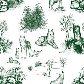Eurasian Wolf Toile Pattern (White and Green)