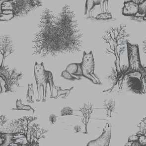 Eurasian Wolf Toile Pattern (Grey)