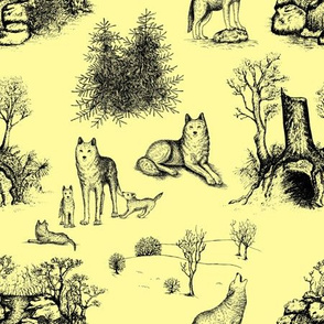 Eurasian Wolf Toile Pattern (Yellow and Black)