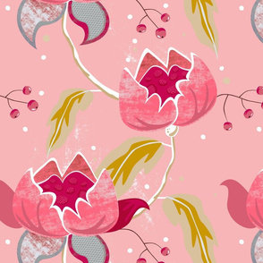 Vintage Floral on pink by Mount Vic and Me