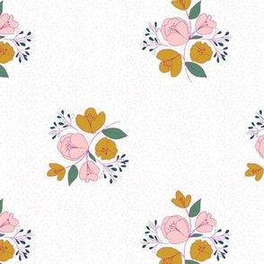 Spring floral with Polkadot Background