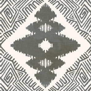 Block Ikat Print in light ash linen