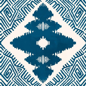 Block Ikat in Blue