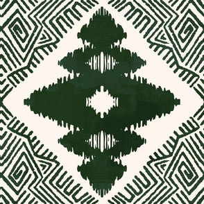 Block Ikat in Forest Green
