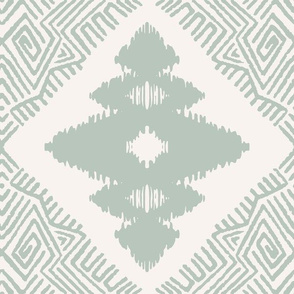 Block Ikat in Silver Green