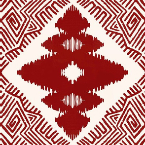 Block Ikat in Farmhouse Red