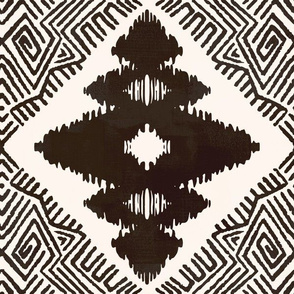 Block Ikat in Ash Black