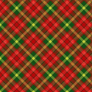 Custom Christmas Red and Green Apple Plaid with Yellow