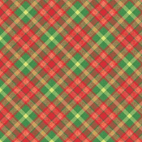 Custom Christmas Light Red and Green Apple Plaid with Yellow