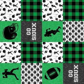 football wholecloth - green and black - college ball -  plaid  C18BS