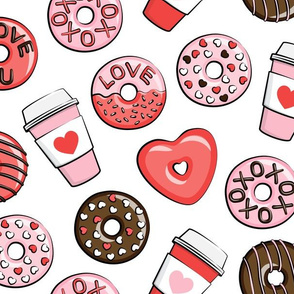 (large scale) donuts and coffee - valentines day - red, pink, & chocolate on white C19BS