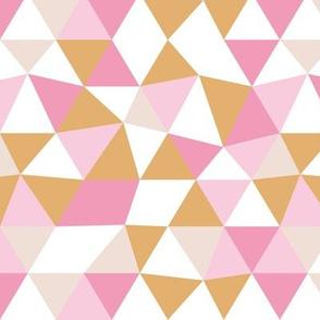 Modern geometric triangle pattern pink ochre beige girls pastel