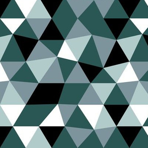 Modern geometric triangle pattern blue green forest night