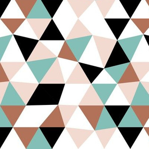 Modern geometric triangle pattern blue pastel mint woodland palette