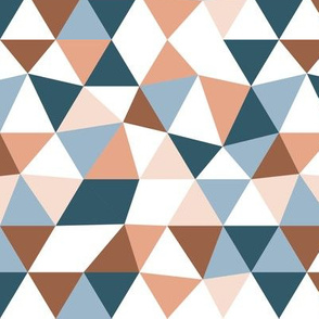 Modern geometric triangle pattern winter blue ocean beach palette