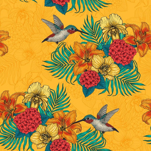 Hummingbirds and tropical bouquet, yellow bg