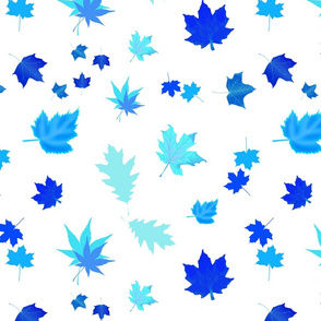 Falling Leaves of Autumn... inverse blue, white, large