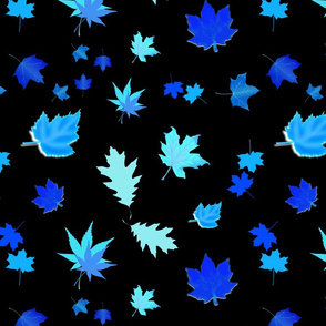 Falling Leaves of Autumn... inverse blue, black, large