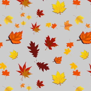 Falling Leaves of Autumn... silver grey, large