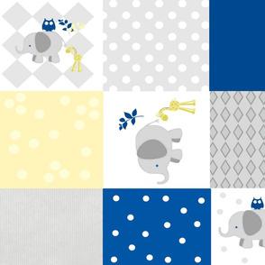 Elephant friends gray blue ocean  - cheaters quilt 21