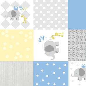 Elephant friends gray light blue - cheaters quilt 21