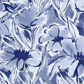 Painterly watercolor floral indigo large scale