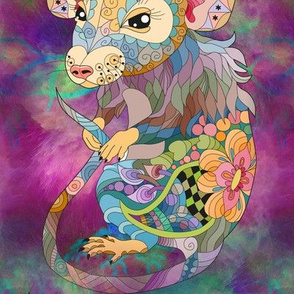 LARGE PSYCHEDELIC cute RAT FRONT DOODLE  SEAMLESS PATTERN FLWRHT