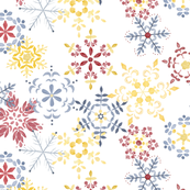 Folk Art Watercolor Snowflakes Boho