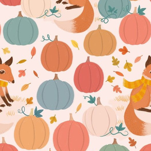 Pumpkin patch foxes
